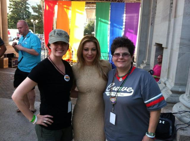Curve SMI Dina, with one of her volunteers and singer Taylor Dayne at Denver Pride.