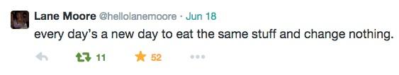 Lane Moore's tweet